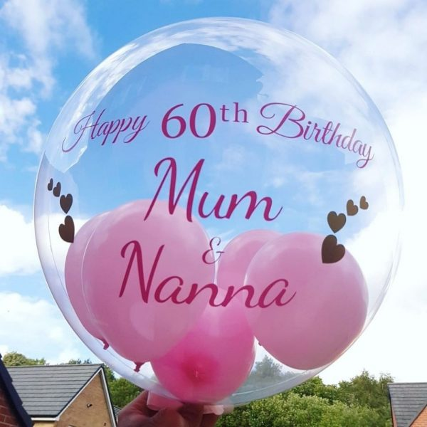 personalised pink balloon filled with min balloons