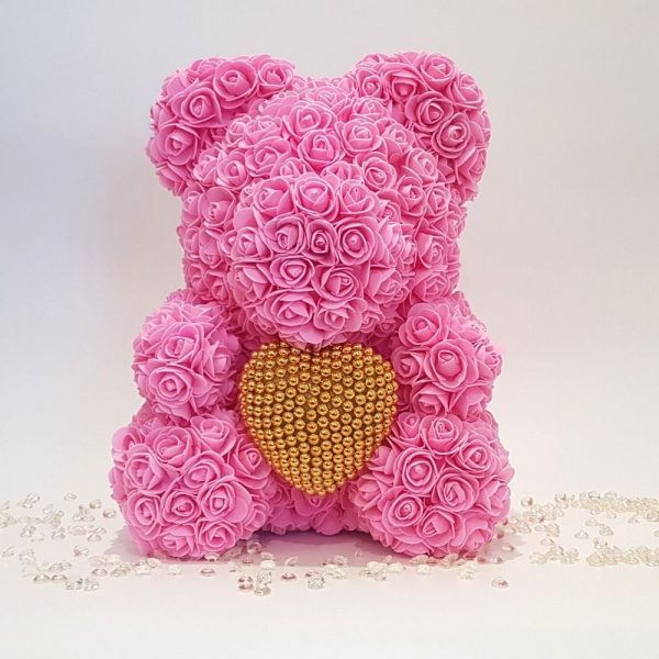 Gift for valentine's day pink rose bear