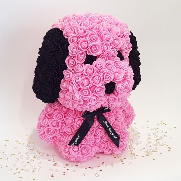 Pink rose dog with ears