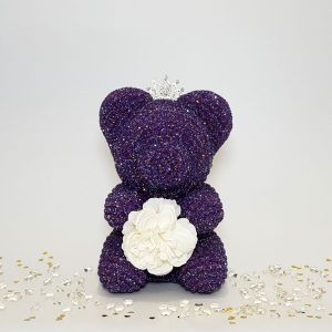 Purple crystal bear with tiara and flower