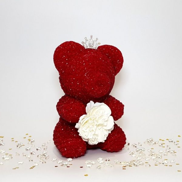Red crystal bear with tiara and flower