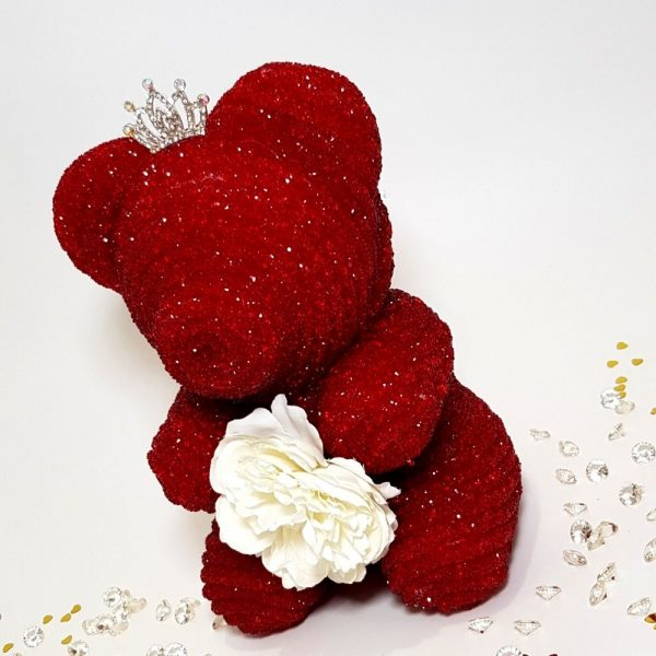 Crystal bear red with tiara and flower