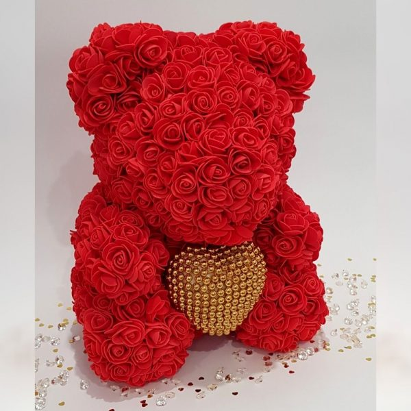 Red rose bear with pearl heart