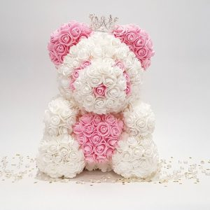 pink and white rose bear with crown